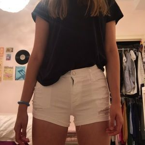 Hollister White Stretch Distressed Jean Shorts